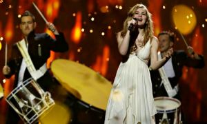 A very happy Emmelie de Forest of Denmark performs the winning entry of Eurovision 2013, 'Only Teardrops'. Photograph: AP