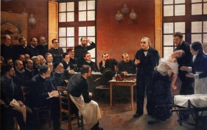 French neurologist Jean Martin Charcot demonstrating hypnosis, 1887 painting by André Brouillet — Source: Wikimedia Commons